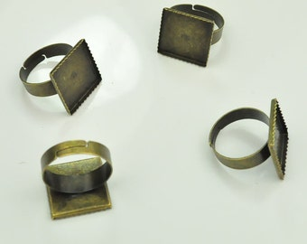 20pcs-Antique Bronze tone Ring Adjustable with 16x16mm Square Pad Rings.