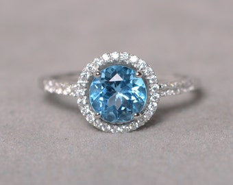 Swiss Blue Topaz Ring Gemstone Engagement Ring Sterling Silver Ring With Stone Promise Ring For Her