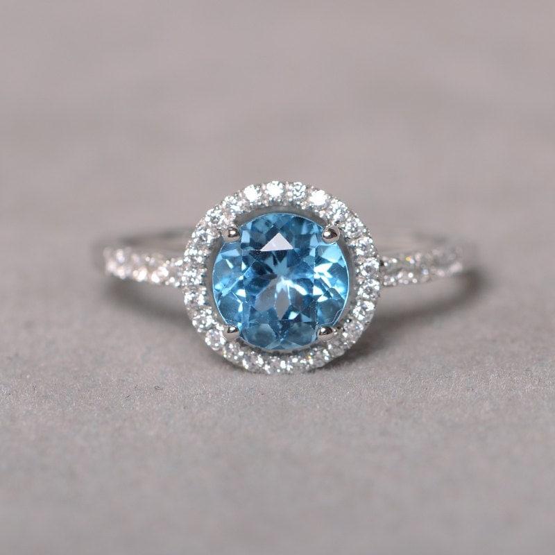 swiss blue topaz ring gemstone engagement ring sterling silver