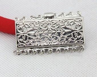 Fashion Style 3 Sets Jewelry Clasps,9 Rows Rectangle Clasp,Insert Clasp,Necklace Clasp,Bracelet Clasp,Clasp Charms,Clasp Findings--BN010