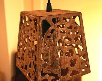 Wood Pendant Light- Modern Light, Antique Edison Bulb, Wood Lamp, Rustic Lighting