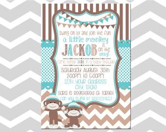 Sock Monkey Baby Shower Boy Invitation/Card Baby Boy Sock Monkey Shower Invitation