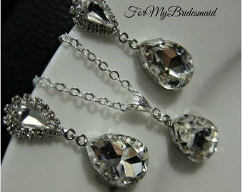 Rhinestone Necklace and Earrings - Bridal Jewelry Set - Rhinestone Earrings - Bridesmaid Jewelry- Wedding Jewelry - Bridesmaid Gifts