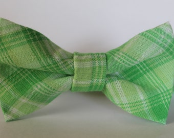 Bright green plaid bow tie, baby, boy, adjustable velcro closure