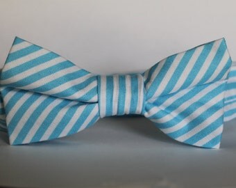 SALE! Bright blue striped bow tie, baby, boy, adjustable velcro closure