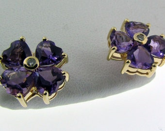 Vintage Amethyst and diamond gold earrings.