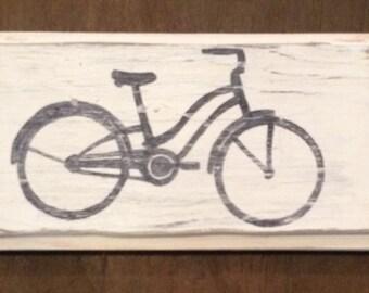 Vintage Bicycle Wood Sign