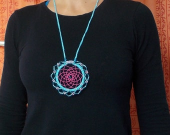 Blue and Pink Beaded Dreamcatcher Pendant Necklace - Hippie - Boho - Native Jewellery
