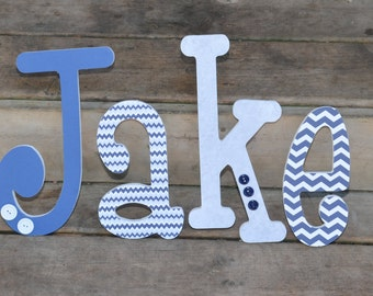 8 inch wooden chevron boy nursery letters. Blue and white, blue and grey, custom made baby boy wooden nursery letters