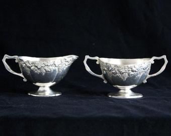 Japanese Silver plated Milk & sugar bowl