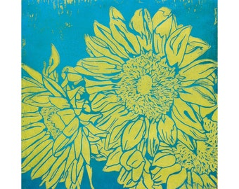Four Slightly Different Vibrant Sunflower Linocuts, Oil on Craft Paper
