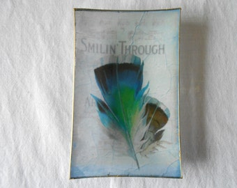 Decorative Plate. Feathers Decoupage glass dish.