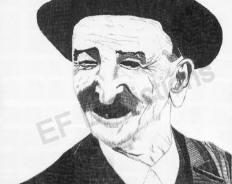 Old Man, Peasant Ink Drawing