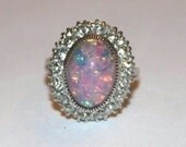Vintage Estate Sterling Silver Opal ring with clear stones -size 5