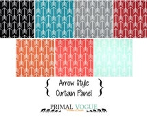 Arrows Curtain Panel with Rod Pocket - Orange Blue Red Mint Grey Black - Cotton UNLINED - Long Short Curtain Window Treatment Home Decor