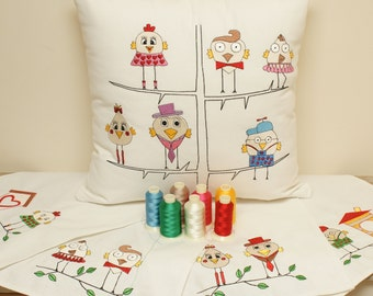 PES embroidery birds. Instant Download. Cushion and napkins. Embroidery pattern. File PES. Embroidery machine. Napkins. Tablecloths.