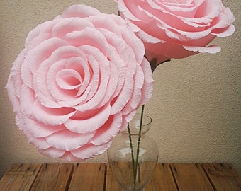 Large Light Pink Crepe Paper Flower Rose, Wedding Flower, Wedding Bouquet, Giant Paper Flowers