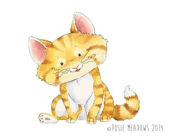 Original Artwork - Purrcival the Kitten -  Kitten Watercolor , Children's illustration, Nursery art