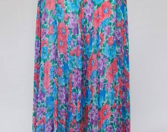 Long Floral Pleated Skirt (Size 10/12)