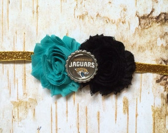 Jacksonville Jaguars inspired Headband, Teal and Gold, shabby flower, NFL, Football,  baby/toddler/adult