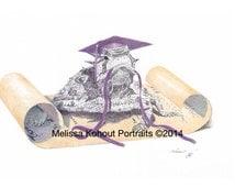 "TCU Hornfrog art, graduation gift! ""The Graduate,"" 8x10 and 11x14 prints"