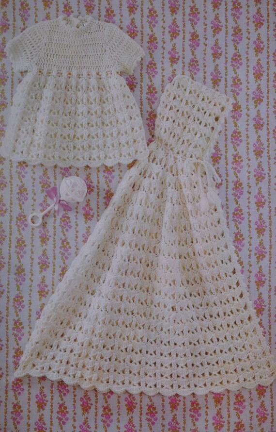 Vintage Crochet Baby Dress Pattern : Baby dress and christening cape vintage crochet pattern pdf
