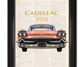 Classic car dictionary art print. 1958 Cadillac upcycled dictionary page book art print. Buy any 3 prints get 1 Free or Buy 4 get 2 FREE!