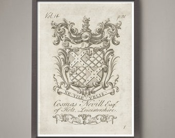 11 x 16 inch Set of 6 Heraldry coat of arms art prints Classic 18th century family crests.  A special collection - large size