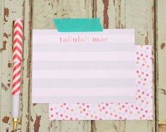 Stripes + multicolored dots personalized stationery-FREE SHIPPING or DIY printable