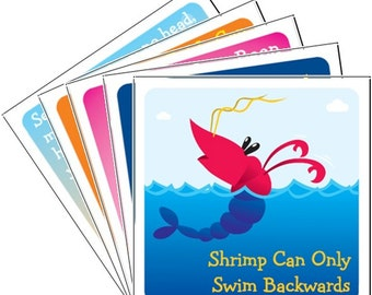 Ocean Animals Pack A - 12 Lunchbox Lunch Box Notes PRINTABLE INSTANT DOWNLOAD