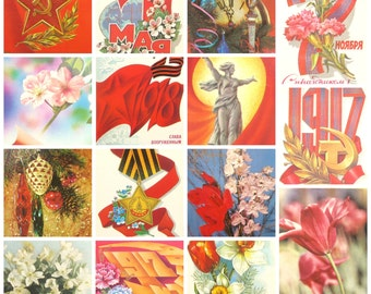 Soviet Holidays, Set of 15 Soviet Postcards, Holidays, Sale, Soviet Union Vintage Postcard, USSR, Used Postcards, 1960s -1980s