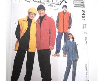 Winter coat jacket/unisex adult clothing/winter vest hat/1996 vintage sewing pattern, Bust chest 42 44 46 48, Size 20 22 24 26, McCalls 8481