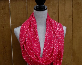 Fabric scarf, infinity scarf, tube scarf, long scarf, loop scarf, eternity scarf, long scarf  in cherry red with white motifs polyester