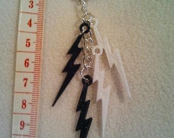 Black and White Lightning bolt key ring