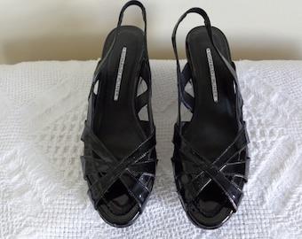 Donald Pliner Black Patent Retro Wedge Sandal New