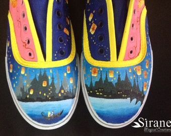 Tangled hand painted canvas shoes
