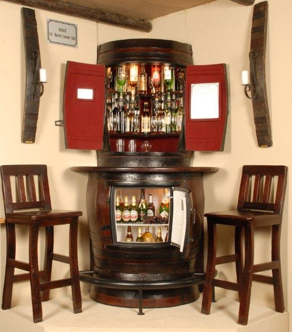 Items similar to Oakly Corner Liquor Cabinet with corner bar ...