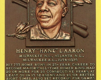 hank aaron autographed hall of fame plaque card