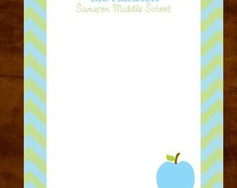 Chevron Personalized Teacher Notepad, Teacher Appreciation Gift, Teacher Gift Giving, lime blue, Chevron, Personalized Teacher Gift, Preppy