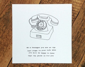 Birthday Card For Teenager; Old Fashioned Telephone; Phone Card; GC186