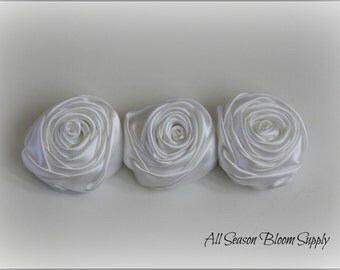 "Set of 3 New Style! Satin Multilayer Rolled Rosettes, Rose Flowers, White, Satin Rose,Hair Accessories 2"" Flowers, Rosettes, DIY, Headband"