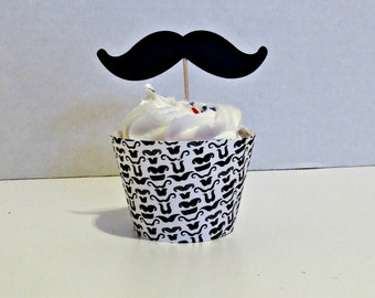 Mustache Cupcake Wrappers and Toppers - set of 12