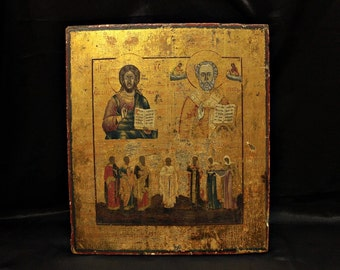Antique original perfect russian gold hand painted icon
