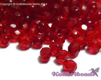 Fire polished Czech Glass Beads 4 mm - Siam