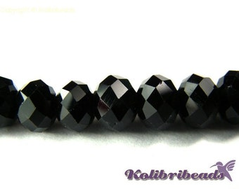 1x Strand Faceted Glass Briolette Beads 8mm Black
