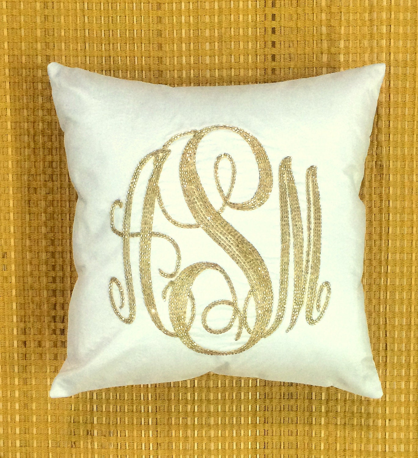Decorative Pillows With Monogram : Monogram Pillow Sequin Decorative Pillow Personalized Dorm
