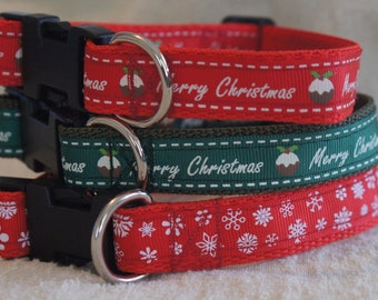 Christmas Dog Collars, Adjustable, S,M,L Various colours/designs