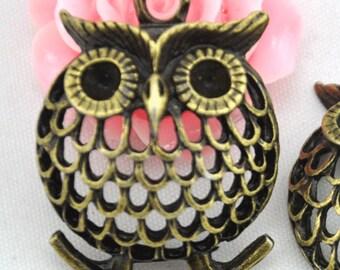 25x34mm---5 pcs Antique Bronze  Filigree Owl Charm Pendants,DIY Accessory Jewelry Making ---G1149
