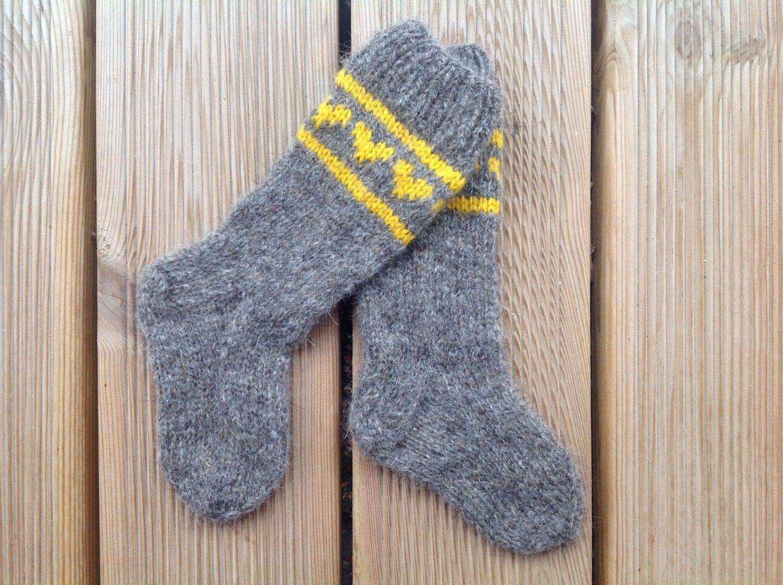 Knitted kids wool socks. Hand knitted socks. Kids knee high