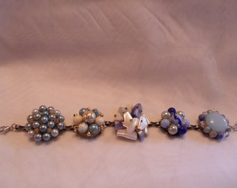 Fun blue and white bracelet made from vintage clip-on earrings